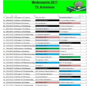 Spielplan 2017 TCA