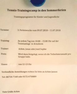 Tenniscamp TCA